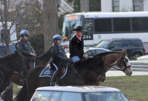 Ryan Zinke, a lomos de un cabllo y con sombrero vaquero, dirigiéndose a la oficina, ayer.
