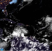 Fotografía satelital de la tormenta tropical Iota en Centroamérica.