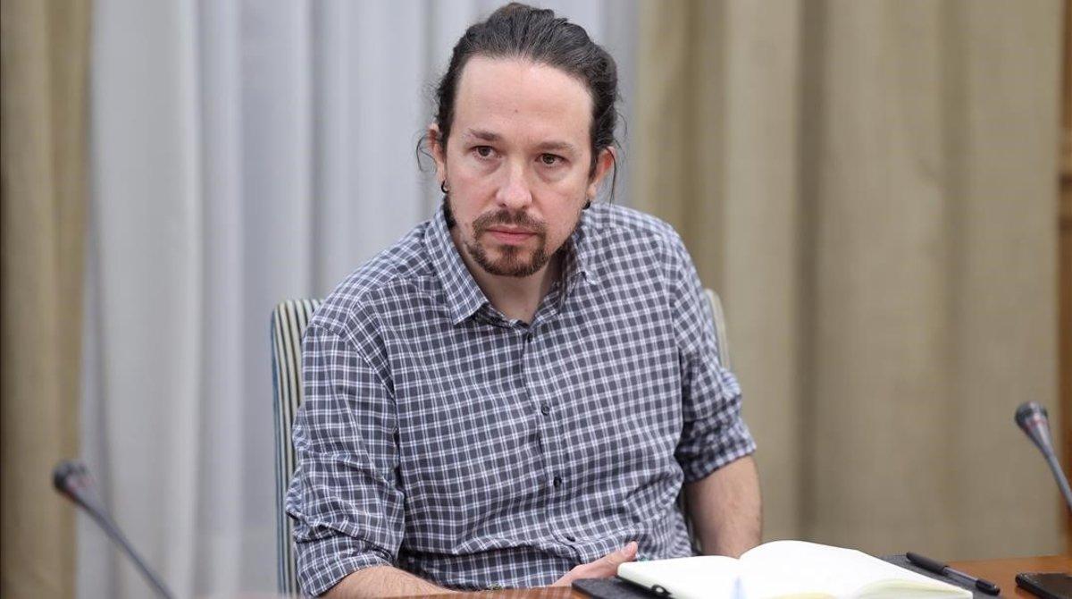 El vicepresidente segundo y líder de Unidas Podemos, Pablo Iglesias, durante su reunión con el Sindicato de Inquilinos