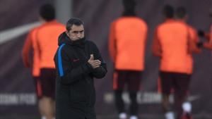 Valverde, en el entrenamiento en la ciudad deportiva.