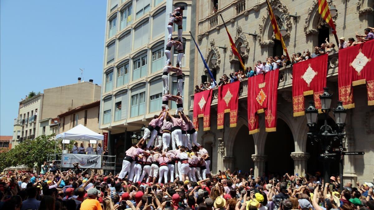 Jornada 'castellera' en la fiesta mayor de Terrassa.