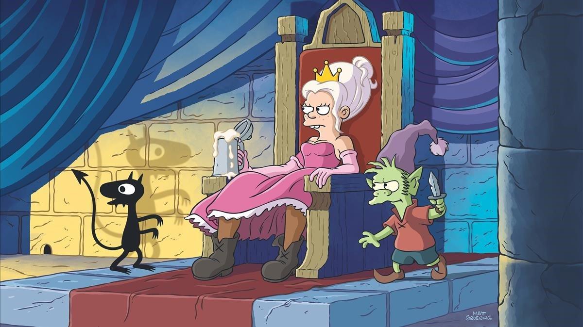 Imagen de (Des)encanto con Luci, Bean y Elfo, el trio protagonista de la serie de Matt Groening.