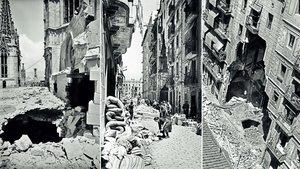 Imágenes de los impactos de ataques aéreos. De izquierda a derecha, la Catedral de Barcelona y dos edificios de la Barceloneta.
