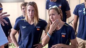 Mireia Belmonte (izquierda) y Jessica Vall, las dos opciones de medalla en Budapest.