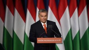 Viktor Orbán, en su mitin en Budapest