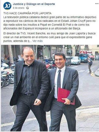 mensaje pagado por el FC Barcelona contra TV3 y Laporta
