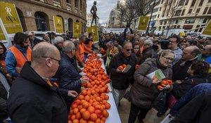 La Asociación Valenciana de Agricultores, AVA, reparte mas de 4000 kilos de naranjas para denunciar la crisis del sector y exigir soluciones urgentes.
