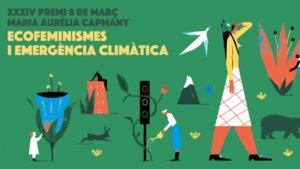 Cartel promocional de la34.ª edición delPremio 8 de Marzo - Maria Aurèlia Capmany.
