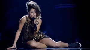 Barei, en uno de los ensayos de Eurovisión en Estocolmo.