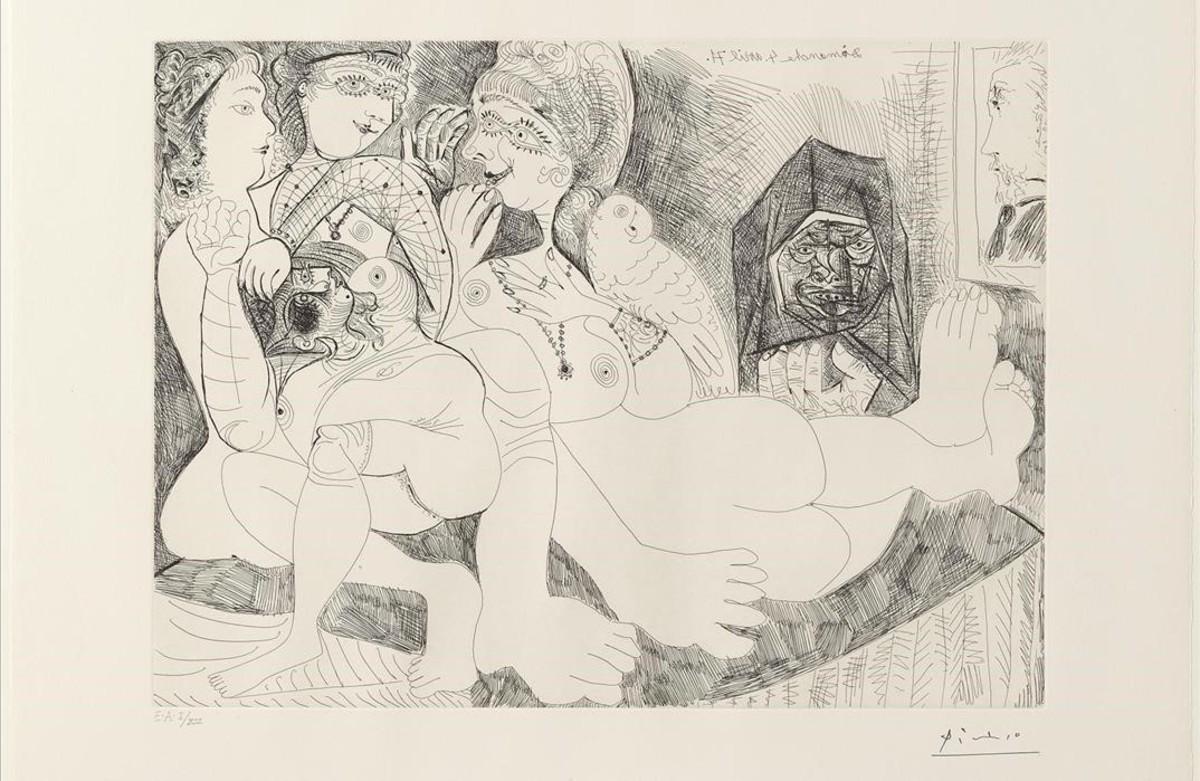 Burdel.Charlatanas, con loro, Celestina y retrato de Degas, uno de los grabados de Picasso, de 1971, expuesto en el museo barcelonés del artista malagueño.