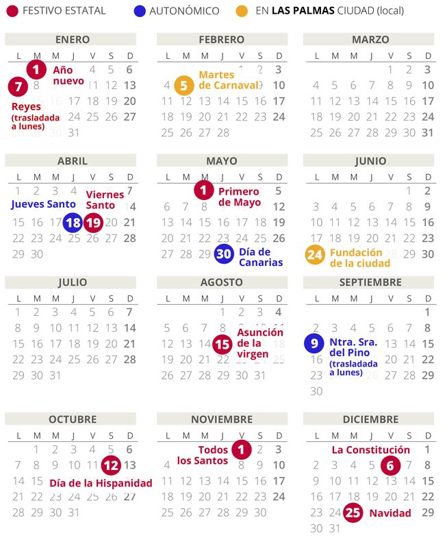 Calendario laboral de Las Palmas del 2019 (con todos los festivos)