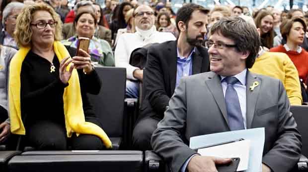 Carles Puigdemont ha sidoincrepado durante su conferenciaen Ginebra.