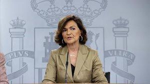 Carmen Calvo en la rueda de prensa posterior a la reunión de ministros