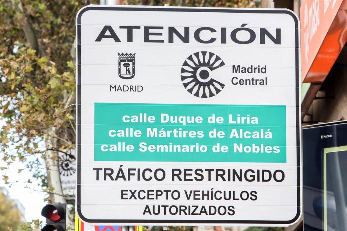Un cartel de Madrid Central.