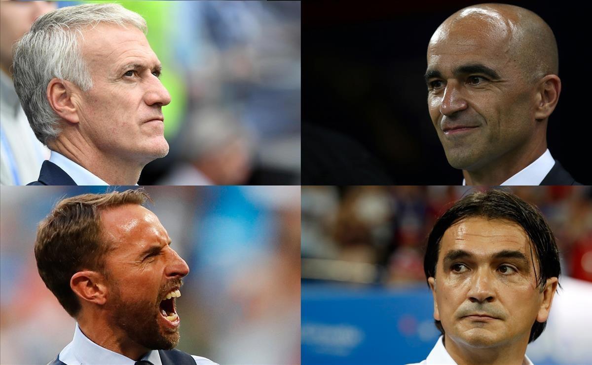 Deschamps (Francia), Martínez (Bélgica), Southgate (Inglaterra) y Dalic (Croacia), en la cima de la Copa del Mundo.