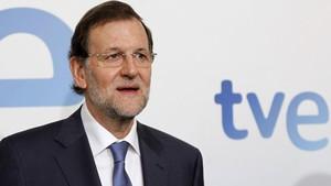 El presidente de España, Mariano Rajoy, antes de una entrevista en TVE, en septiembre del 2012