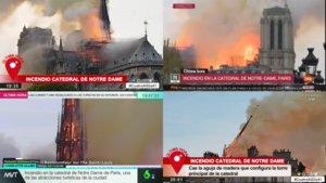Imágenes de las cadenas españolas informando sobre el incendio de la Catedral de Notre-Dame (París).