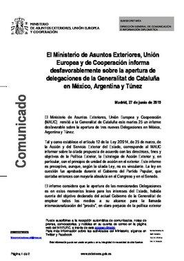 Informe desfavorable sobre la apertura de delegaciones de la Generalitat de Catalunya en México, Argentina y Túnez