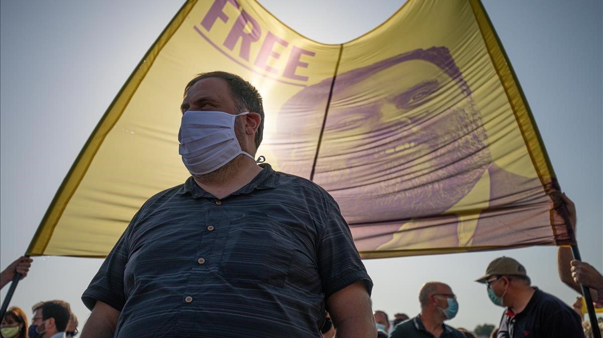 El líder de ERC, Oriol Junqueras, este martes, ante la prisión de Lledoners.