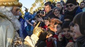 Llegada de los Reyes Magos de Oriente al Port Vell en el 2019 en Barcelona.