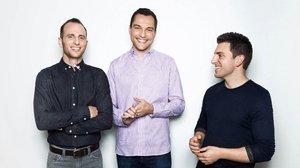 Los fundadores de Airbnb. Joe Gebbia, Nathan Blecharczyk y Brian Chesky.
