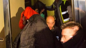 Salida de los acusados tres jugadores de la Arandina Club de Fútbol.