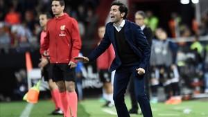 Marcelino, en un partido del Valencia en Mestalla.