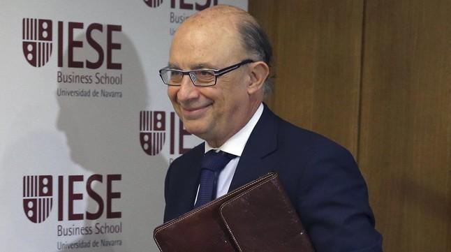 El ministro de Hacienda, Cristóbal Montoro, a su llegada a unas jornadas organizadas por IESE.