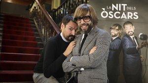 Òscar Andreu y Òscar Dalmau, en el Velòdrom, durante la presentación de La nit dels Òscars (TV-3).