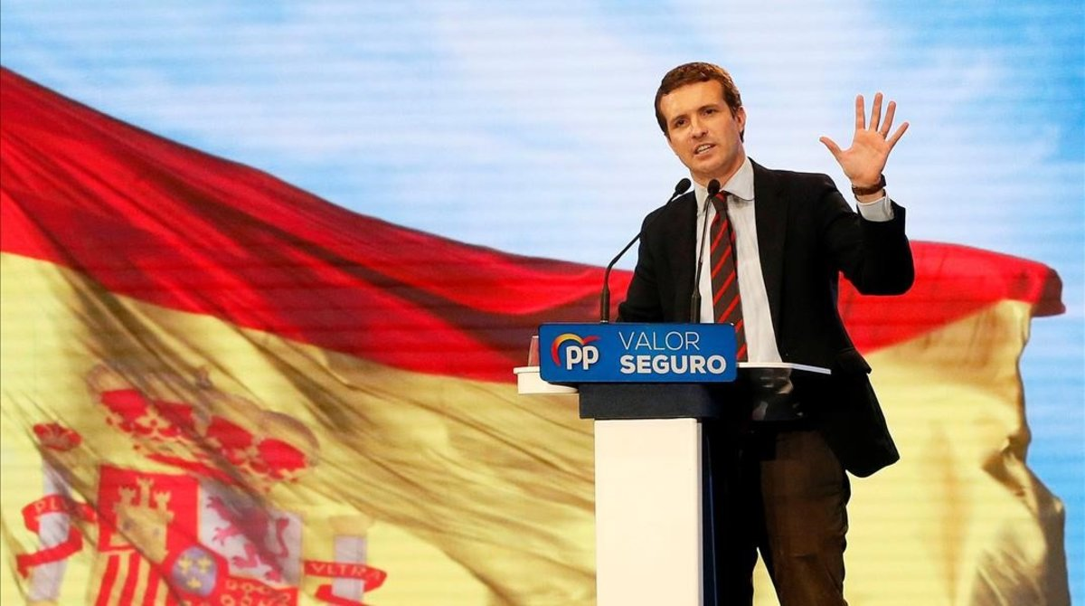 Pablo Casado, en un mitin en Alicante, el sábado 20 de abril.