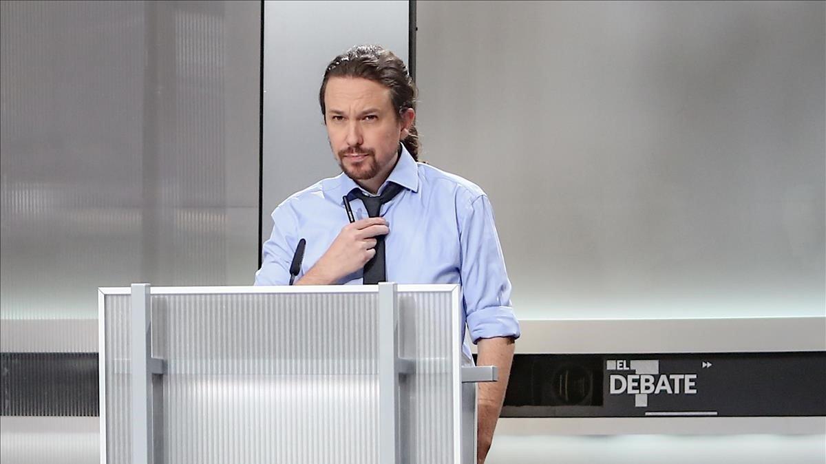 Pablo Iglesias, antes del debate electoral en televisión del pasado 4 de noviembre.