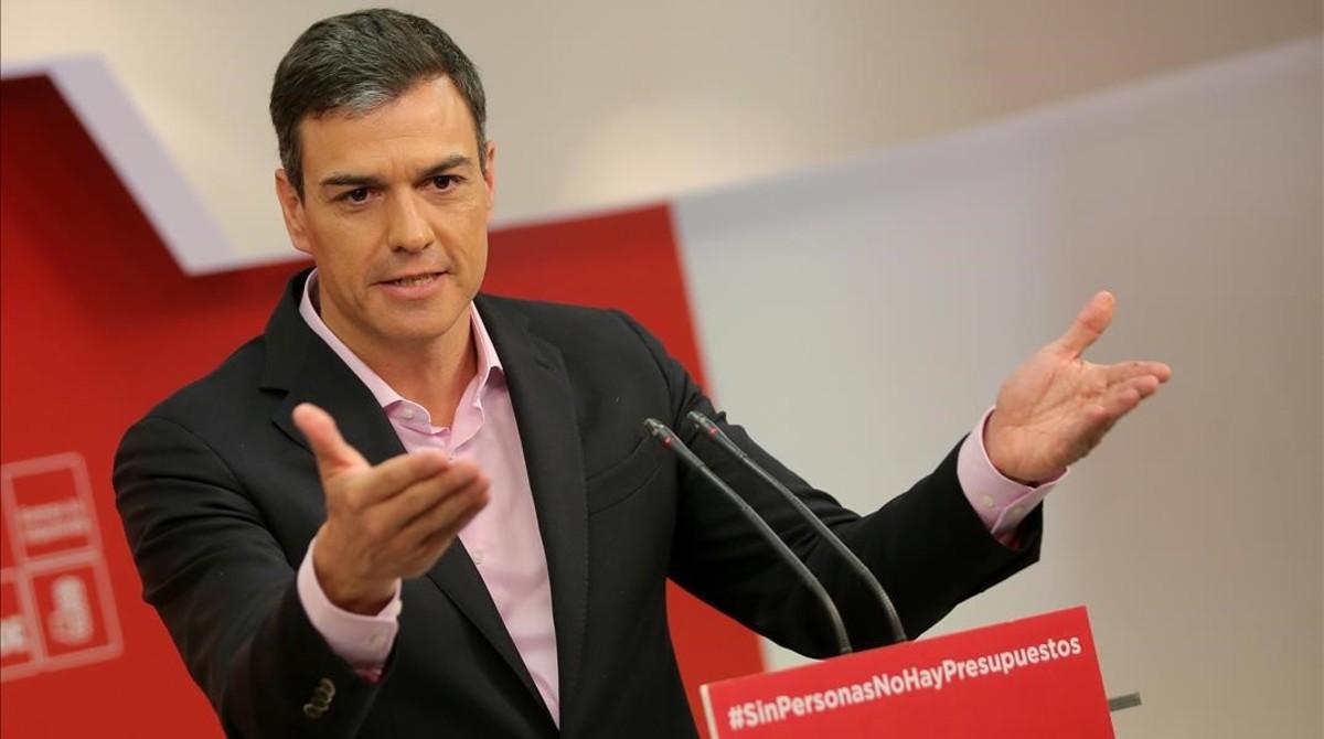 Pedro Sánchez, en una rueda de prensa, el 2 de marzo.