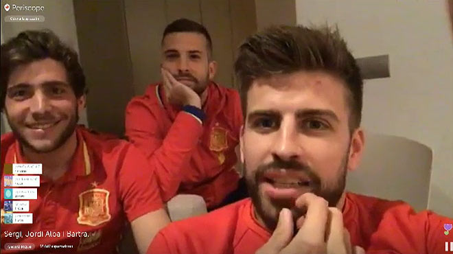 Piqué explica queempezó a usar Periscope tras verel programa en el que Bertín Osborne entrevistaba a Iker Casillas.