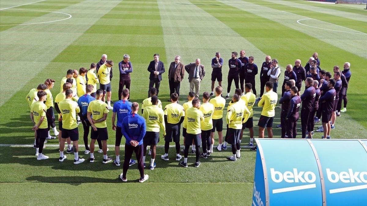 La plantilla del Barcelona en una imagen de archivo en el Camp Nou