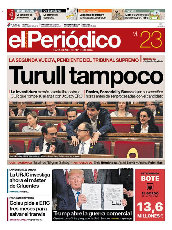 La portada de EL PERIÓDICO del 23 de marzo del 2018