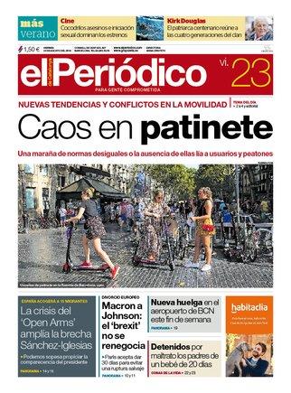 La portada de EL PERIÓDICO del 23 de agosto del 2019