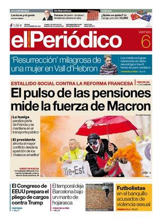 La portada de EL PERIÓDICO del 6 de diciembre del 2019.