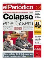 La portada de EL PERIÓDICO del 28 de enero del 2020.