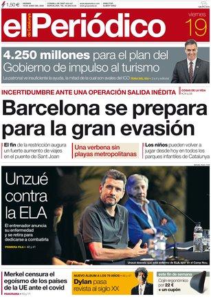 La portada de EL PERIÓDICO del 19 de junio del 2020.