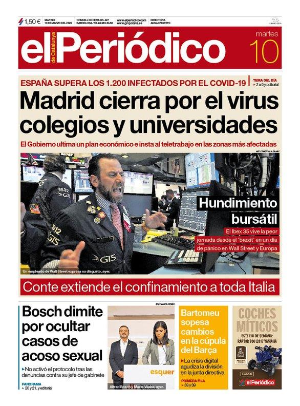 La portada de EL PERIÓDICO del 10 de marzo del 2020.