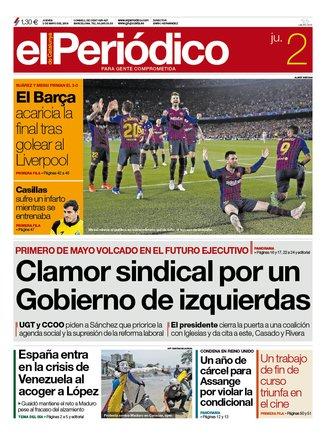 La portada de EL PERIÓDICO del 2 de mayo del 2019