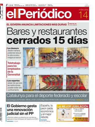 La portada de EL PERIÓDICO del 14 de octubre del 2020.