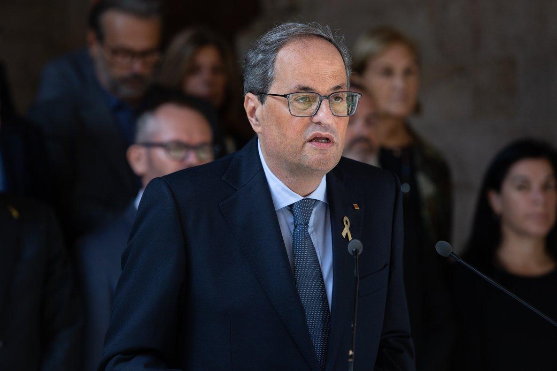 14/10/2019 El president de la Generalitat de Catalunya, Quim Torra, hace una declaración institucional tras conocerse la sentencia del Tribunal Supremo (TS) sobre el proceso independentista catalán del 1-O, en el Palau de la Generalitat, Barcelona (Cataluna, España), a 14 de octubre de 2019.
