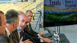 Rubiales presenta el amistoso de España contra Bosnia en Las Palmas.