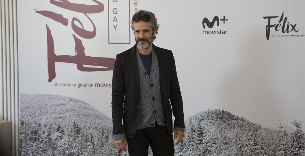 El actor Leonardo Sbaraglia, durante la presentación del rodaje de la serie de Movistar+ 'Félix'.