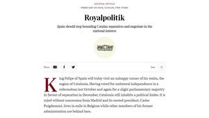'The Times' demana a Espanya que deixi tornar Puigdemont per iniciar una fase de diàleg