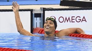 Teresa Perales, tras ganar la plata en los 200 metros libre de los Juegos Paralímpicos de Río 2016.