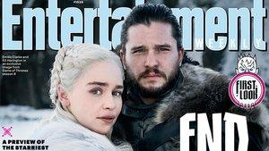 Detalle de la portada de la revista Entertainment Weekly, con Emilia Clarke y Kit Harington, en Juego de tronos.