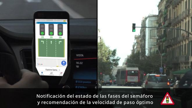 Demostracion de cómo la nueva 'app' C-Mobile detecta si un semáforo se va a poner verde.