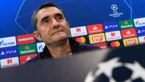 Valverde, en la rueda de prensa previa al partido contra el Slavia.